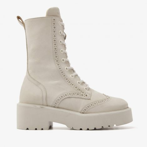 Bobbi Millow beige lace-up boots