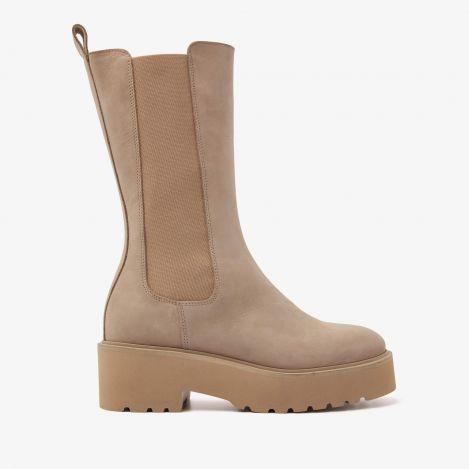 Bobbi Matt beige hoge chelsea boots