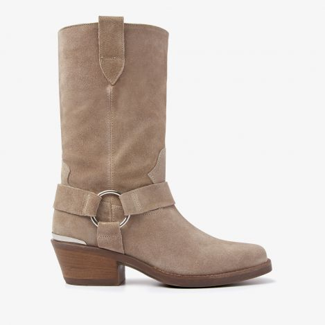 Paige Ring beige mid-calf boots